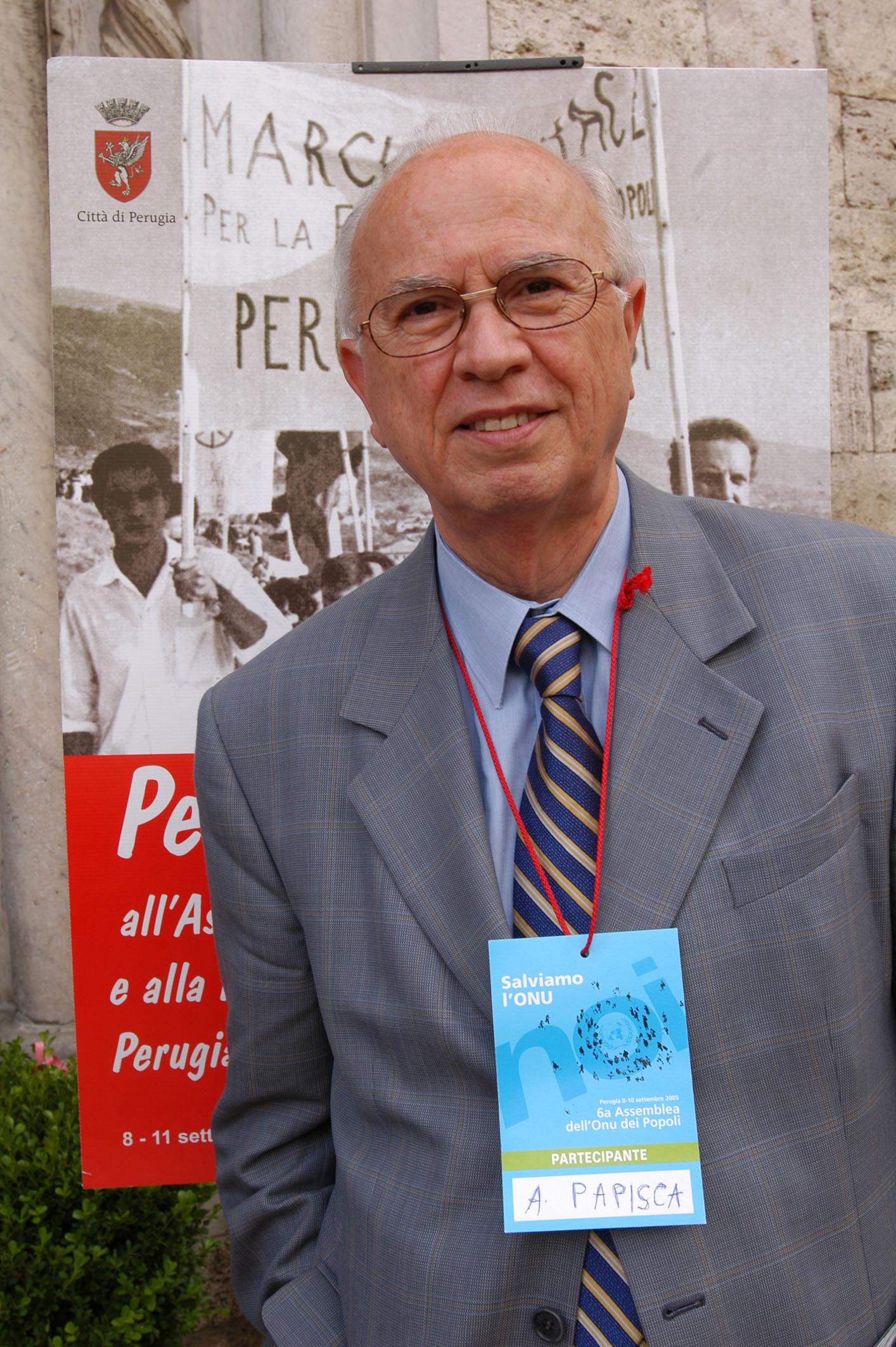 Perugia 10/9/2005 Antonio Papisca, professore all' Universita' di Padova. foto: Roberto Brancolini©