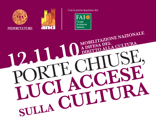 12 novembre: mobilitazione nazionale a difesa del diritto alla cultura