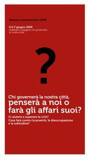 """Elezioni amministrative 2009:  """"Costruiamo le città dei diritti umani"""""""