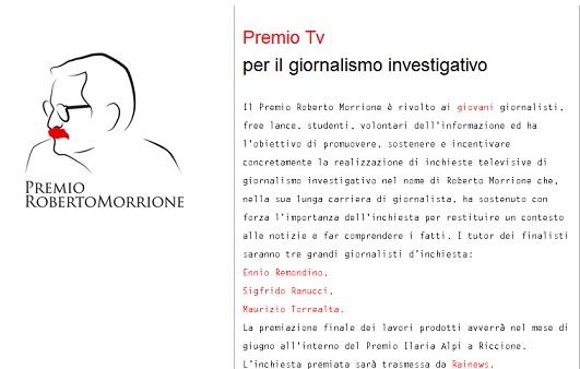 """Domani a Roma, la presentazione dei tre finalisti """"Premio Roberto Morrione"""""""